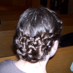 My hair this morning at church.